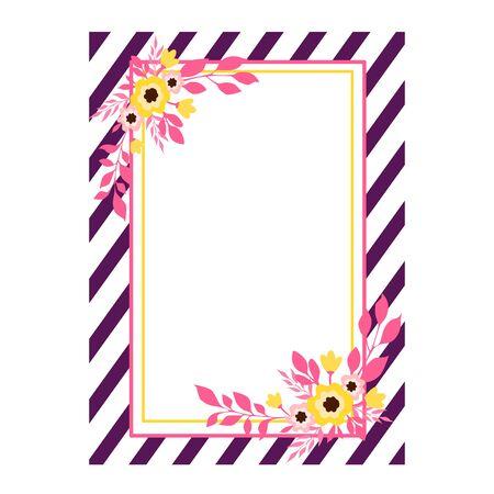 Vector illustration of a striped floral frame