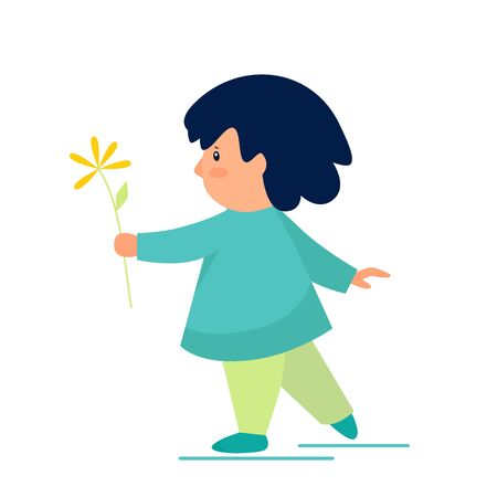 Vector illustration of a child with a flower
