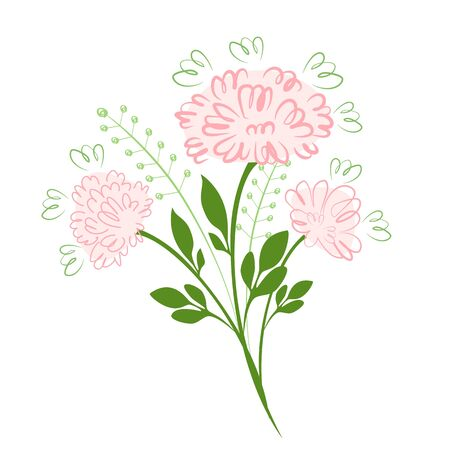 Vector illustration Bouquet of pink peonies with herbs