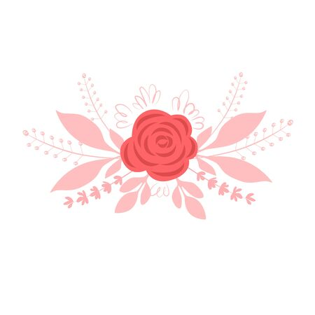 Vector illustration of a bouquet of pink rose flowers with herbs Illusztráció