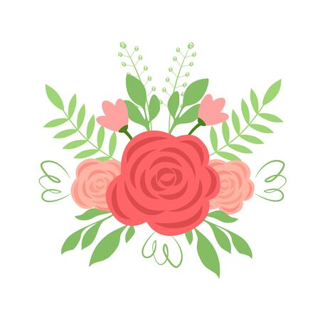 Vector illustration of a bouquet with roses and herbs