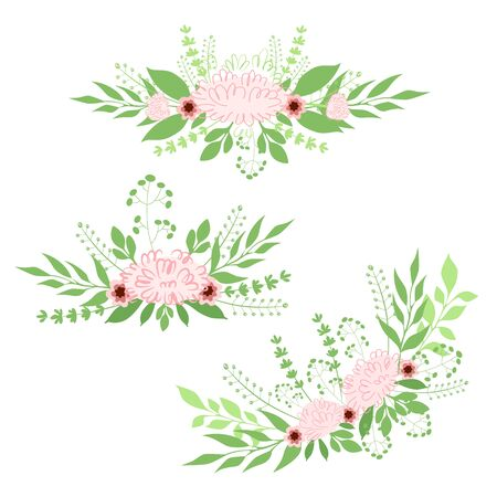 Vector illustration set of bouquets of peonies with herbs