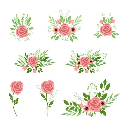 Vector illustration set of pink roses bouquets