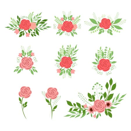 Vector illustration set of bouquets of roses
