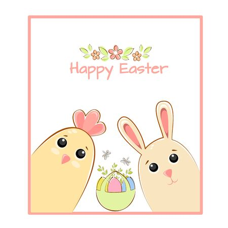 Vector illustration greeting card easter chicken and easter bunny with a basket of easter eggs