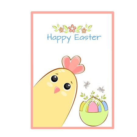Vector illustration easter chicken greeting card with basket of easter eggs