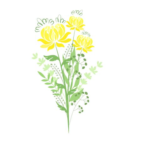 Vector illustration of a bouquet of yellow peonies with herbs