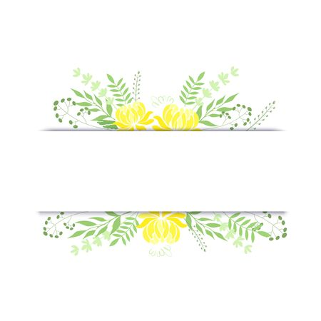 Vector illustration Frame with bouquets of yellow peonies with herbs