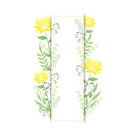 Vector illustration of a rectangular frame with yellow peonies and herbs