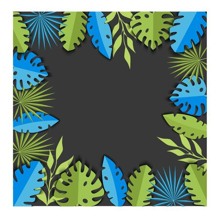 Vector illustration background with tropical green and blue leaves