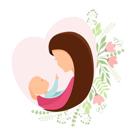 Vector illustration of Mothers Day, a woman with a baby in her arms