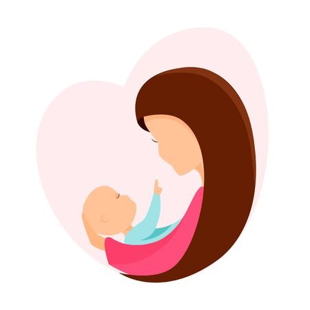 Vector illustration Mother with baby