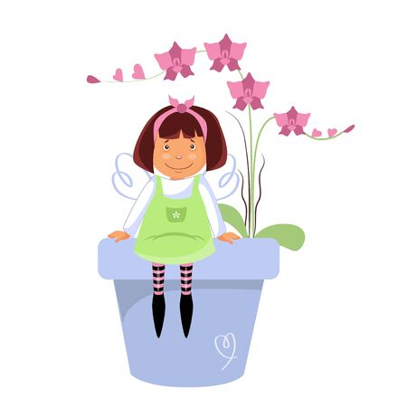 Vector illustration of a fairy with a flowerpot of flowers