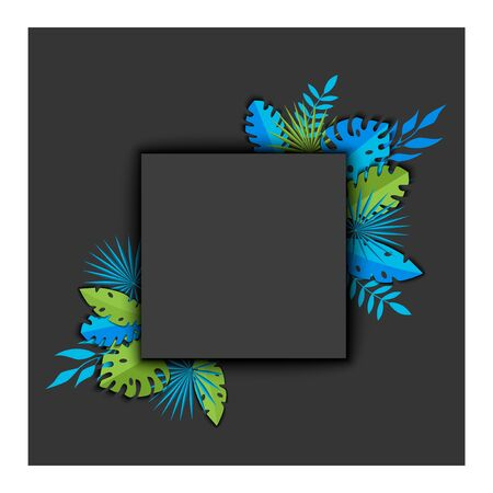 Vector illustration Background with tropical leaves