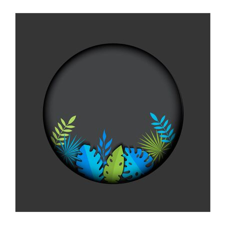 Vector illustration Postcard tropical leaves on a gray background in a circle