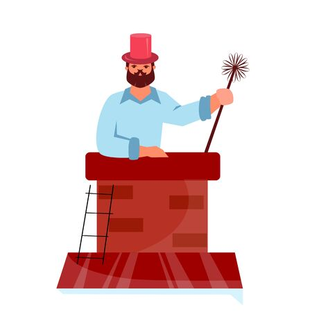 Vector illustration of house cleaning. Chimney sweep on the roof