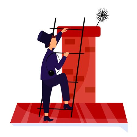 Vector illustration chimney sweep on the stairs roof cleans chimney Illusztráció