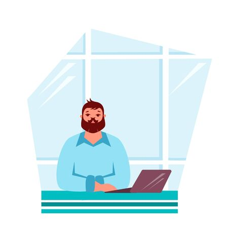 Vector illustration of an office worker at a table with a laptop
