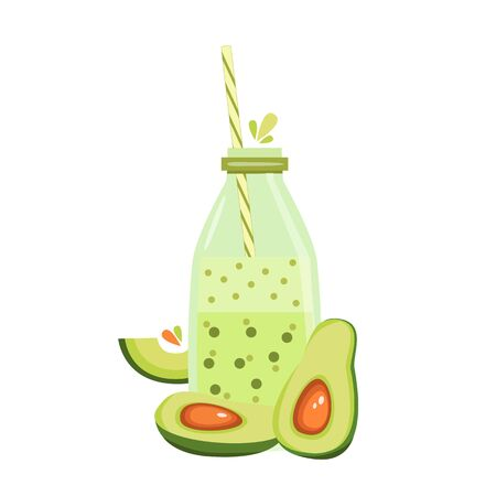 Stock vector illustration of avocado smoothie bottle and avocado fruit