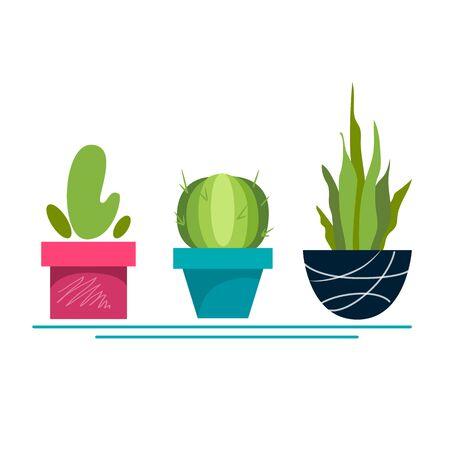 Stock vector illustration set of cacti in flowerpots