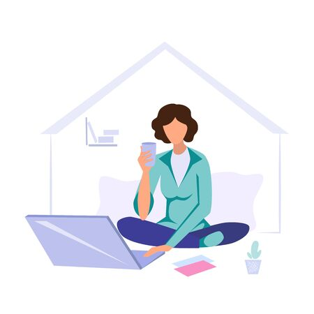 Stock vector illustration Worker at home office, girl working from home at a laptop