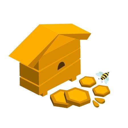 Bee hive with honeycombs and bees stock vector illustration in 3d style Illusztráció