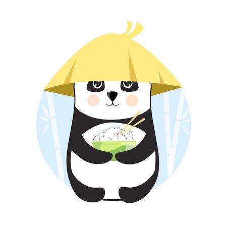 Funny panda with a plate of rice stock vector illustration Illusztráció