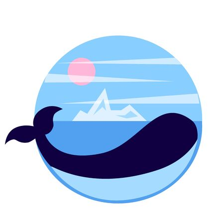 Arctic whale stock vector emblem, whale in the sea with iceberg