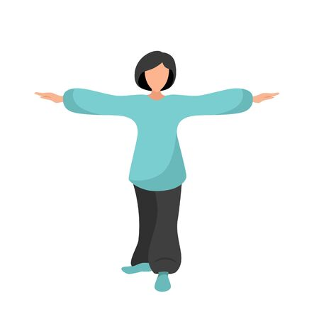 Stock Vector illustration of a woman performs Chinese gymnastics tai chi and qigong