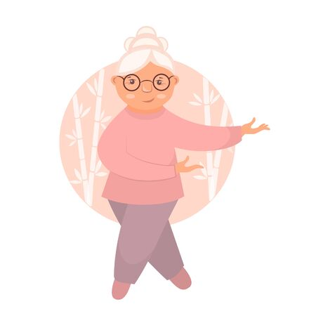 Stock vector illustration sport exercises for old people. Old woman doing gymnastics