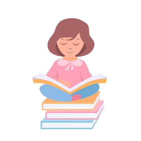 vector illustration of a girl with books Illusztráció