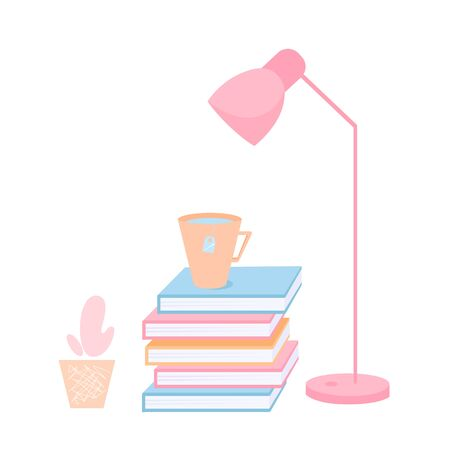 Stock vector illustration of a stack of books, a cup of tea and a table lamp Illusztráció