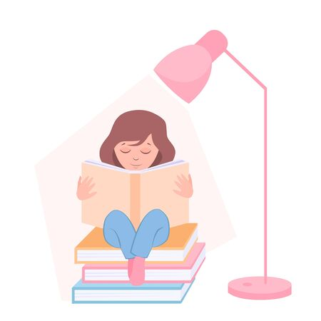 vector illustration of a girl reading a book under a table lamp