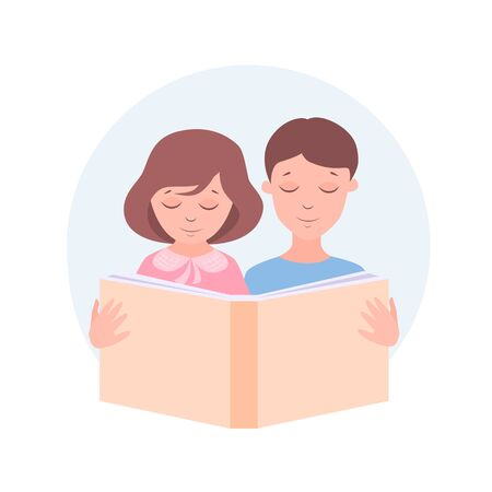 Stock vector illustration boy and girl are reading a book