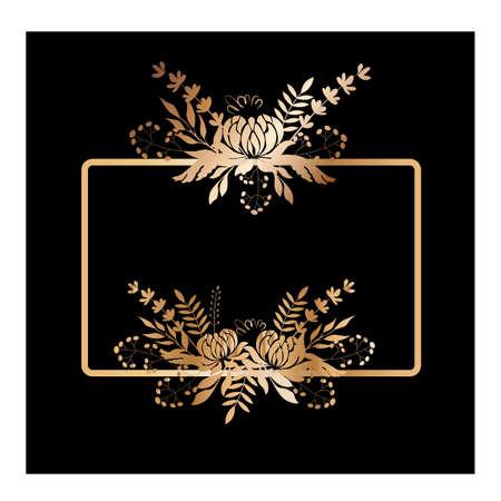 Vector illustration Background frame with golden chrysanthemums