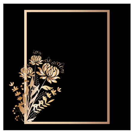 Vector illustration Background frame with a bouquet of gold chrysanthemums