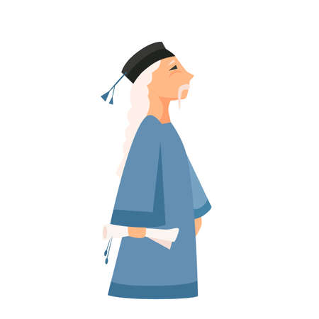 Vector illustration of a Chinese sage healer with a scroll in his hand
