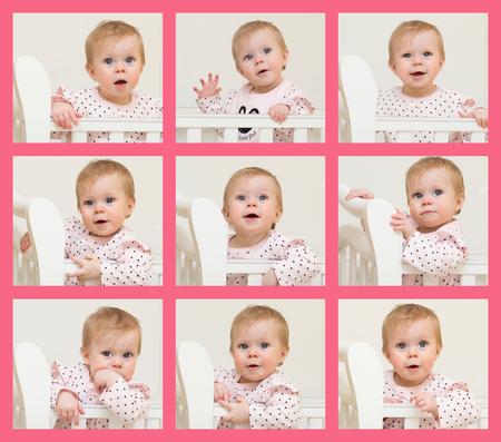 one sheet: Nove ritratti del bambino di 9 mesi di et� sono posti su un foglio Archivio Fotografico