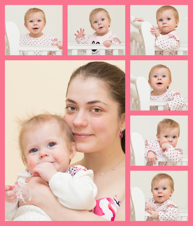6 9 months: Portrait of young mother with the baby and 6 portraits of the baby of 9 months old are placed on one sheet