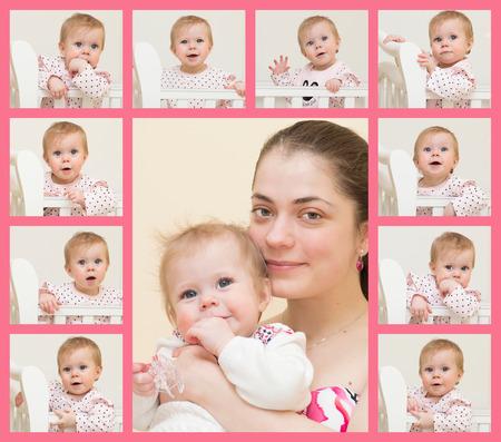 one sheet: Ritratto di giovane madre con il bambino e 10 ritratti del bambino di 9 mesi di et� sono posizionati su un unico foglio Archivio Fotografico
