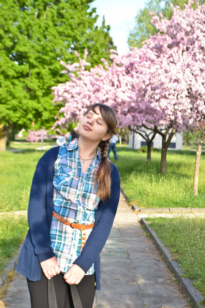 wants: Spring. Girl wants Stock Photo