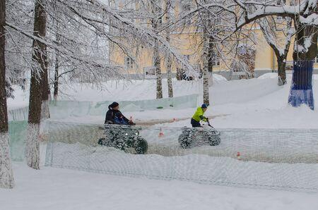 Vladimir, Russia January 1 Park Lipki Cathedral Square quad biking