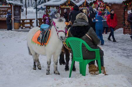 Vladimir, Russia January 1 Park Lipki Cathedral Square riding