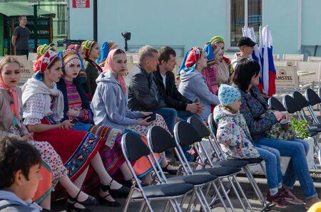 Vladimir, Russia June 14, 2018. Vladimirsky street Descent Vladimir Cultural Capital of the World Cup in 2018 Spectators and participants of the concert Sajtókép