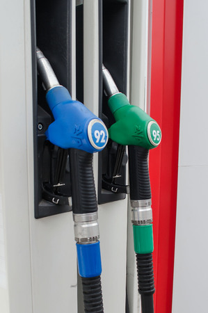 nozzle for gasoline distribution in a service station Stock Photo