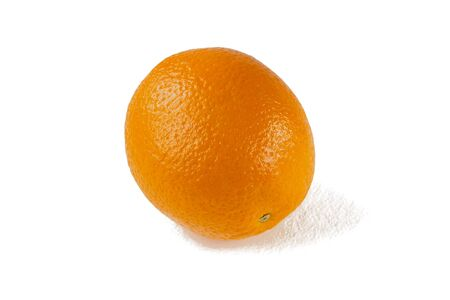 Whole orange with zest and shadow isolate on white background