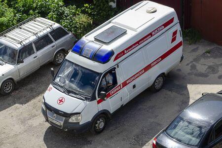 Vladimir, Russia June 19, 2019 Vladimir, st. Balakireva 28 An ambulance stands in the yard Sajtókép