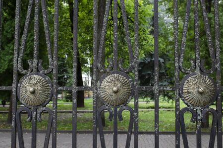 Old forged lichen covered fence