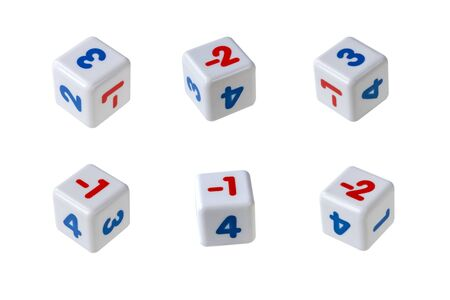White cubes with red and blue numbers on them. The numbers are positive and negative. Isolate on a white background. Фото со стока