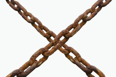 Crossed rusty chain. On white background Reklamní fotografie